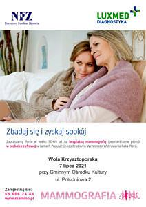 Dwie kobiety - starsza i młodsza siedzą przytulone do siebie - poniżej informacja o mammografi w Woli Krzysztoporskiej (jak w treści informacji)