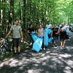 Grupa ludzi z workami na leśnej drodze