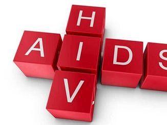 Układanka z czerwonych klocków jak scrabble ze słowami hiv aids