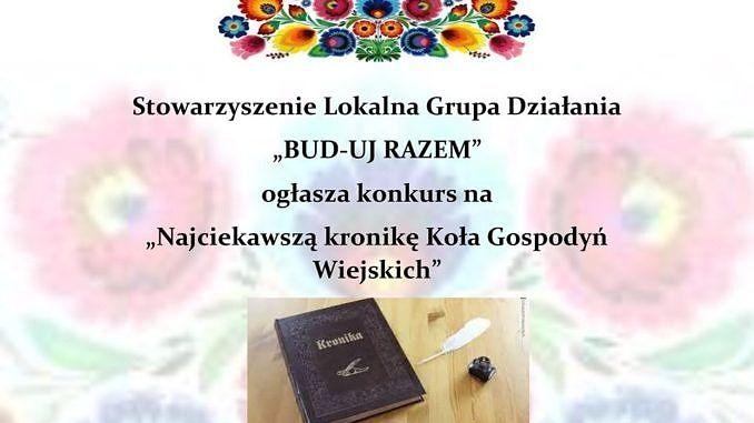 plakat - ludowe ozdoby i kronika na stole - treść LGD Bud-Uj Razem ogłasza konkurs na najciekawszą kronikę KGW