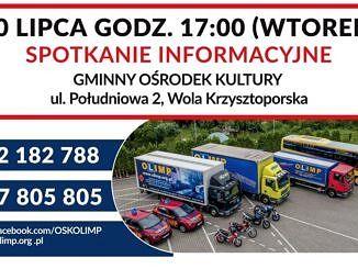 Informacje jak w treści; na plakacie ciężarówki, motocykle, samochody do nauki jazdy