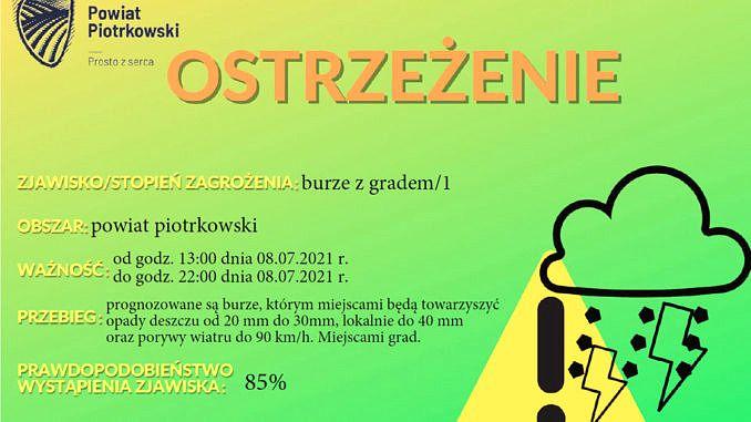 Plakat ostrzeżenie burze z gradem na zielonym tle napisy jak w treści informacji