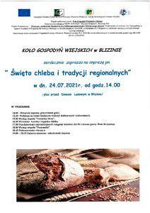 Plakat chleb i kosy oraz informacje święto chleba i tradycji w Blizinie