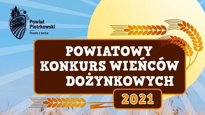Powiatowy konkurs wieńców dożynkowych 2021 plakat na niebieskim i brązowym tle kłosy i napisy