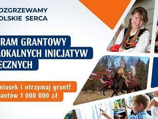 Plakat: program grantowy dla lokalnych inicjatyw społecznych- kobieta w ludowym stroju; starszy człowiek robi coś z drewna; husaria; dziecko przy tablicy