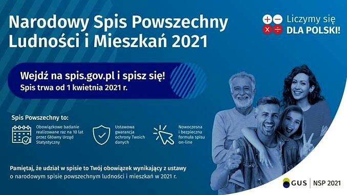 Plakat - Narodowy Spis Powszechny Ludności i Mieszkań 2021 - na niebieskim tle osoby w różnym wieku