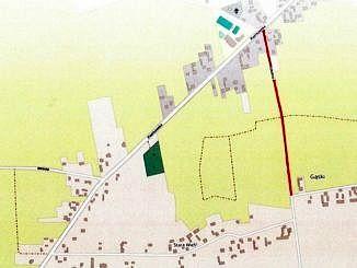 Mapa z zaznaczonym odcinkiem zamkniętym dla ruchu