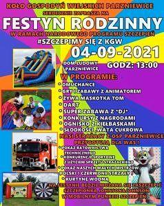 plakat - festyn rodzinny w Parzniewicach kolorowa tęcza i zdjęcia