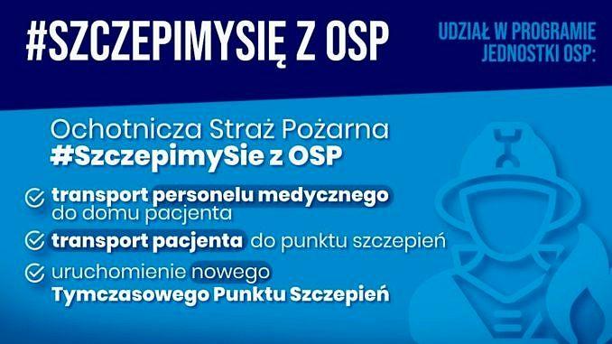 Na niebieskim tle napisz #SzczepimySie z OSP