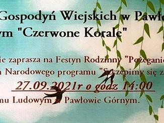 Plakat na tle nieba z chmurami i listkami drzewa zaproszenie - KGW Pawłowie Górnym Czerwone Korale zaprasza na festyn połaczony ze szczepieniem