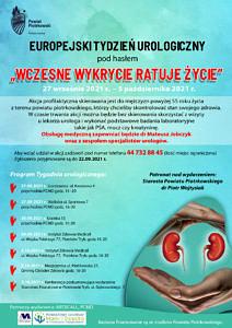 Plakat - Europejski Tydzień Urologiczny Wczesne wykycie ratuje życie na niebieskim tle informacje jak w treści