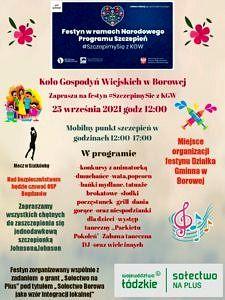 Plakat KGW Borowa zaprasza na festyn