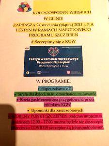 Plakat KGW Glina zaprasza na festyn