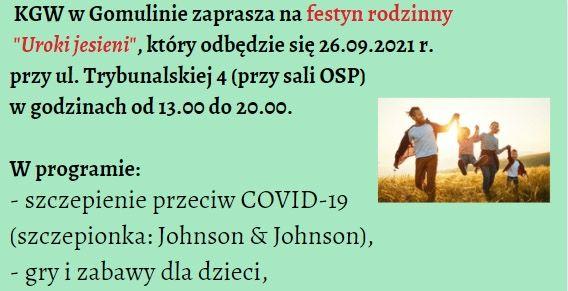 Plakat na niebieskim tle zaproszenie na festyn - informacje jak w treści