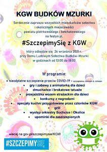 plakat - KGW Budków Mzurki zaprasza na festyn szczepimy się z KGW