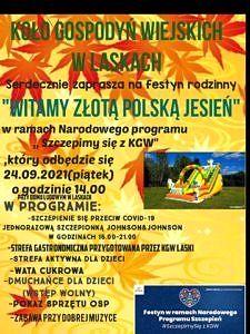 """plakat na zółtym tle KGW Laski zaprasza na festyn """"Witamy złotą polską jesień"""""""