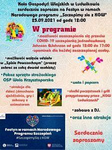 Plakat KGW Ludwików zaprasza na festyn ze szczepieniami