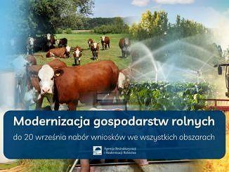Plakat logo ARiMR na niebieskim tle napis Midernizacja gospodarstw rolnych, nad nim brązowe krowy, nawadnianie plantacji