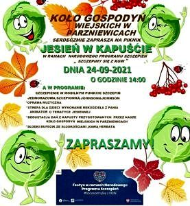 plakat z zielonymi kapustami - KGW Parniewice zaprasza na festyn Jesień w kapuście