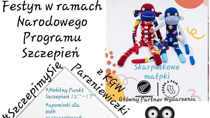 Plakat z małpkami uszytymi ze skarpetek i projektor filmowy - festyn w ramach Narodowego Programu Szczepień - informacje jak w treści