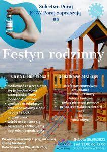 plakat - KGW Poraj zaprasza na festyn rodzinny - w lte plac zabaw