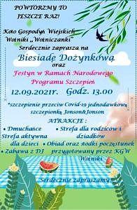 Plakat - na niebieskim tle stół piknikowy i zaproszenie jak w treści informacji