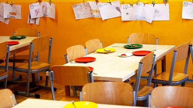 Na tle żółtej ściany stoiki dla dzieci i talerze na nich