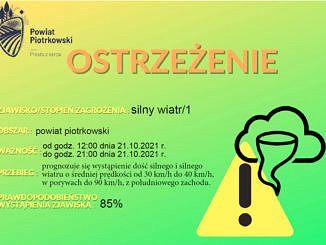 Plakat ostrzeżenie przed silnym wiatrem na zielonym tle żółty trójkąt i napisy