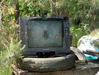 stary telewizor ustawiony na oponach na tle lasu